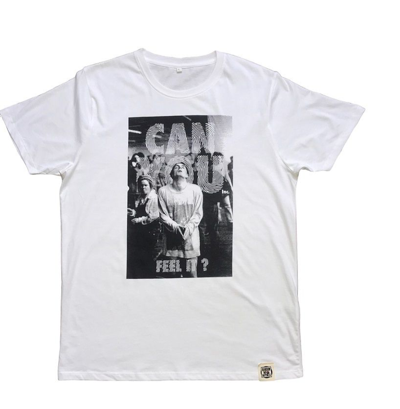 Can You Feel It on White Organic Cotton t-shirt by Random Happiness